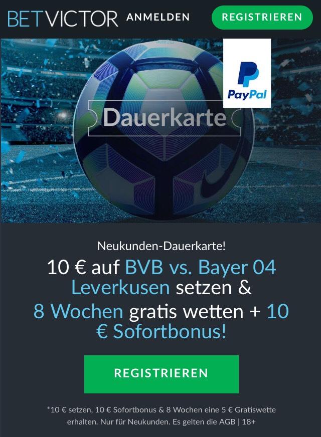 BVB gegen Bayer: Acht Wochen Gratiswetten