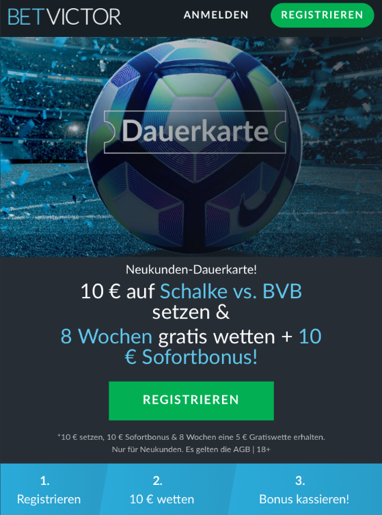 Schalke gegen BVB: Acht Wochen Gratiswetten