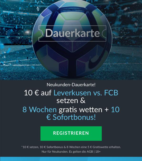 Leverkusen gegen Bayern: Acht Wochen Gratiswetten