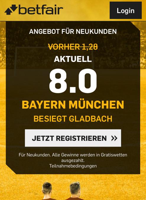 Betfair-Boost: Top-Quote 8.0 wenn Bayern gewinnt