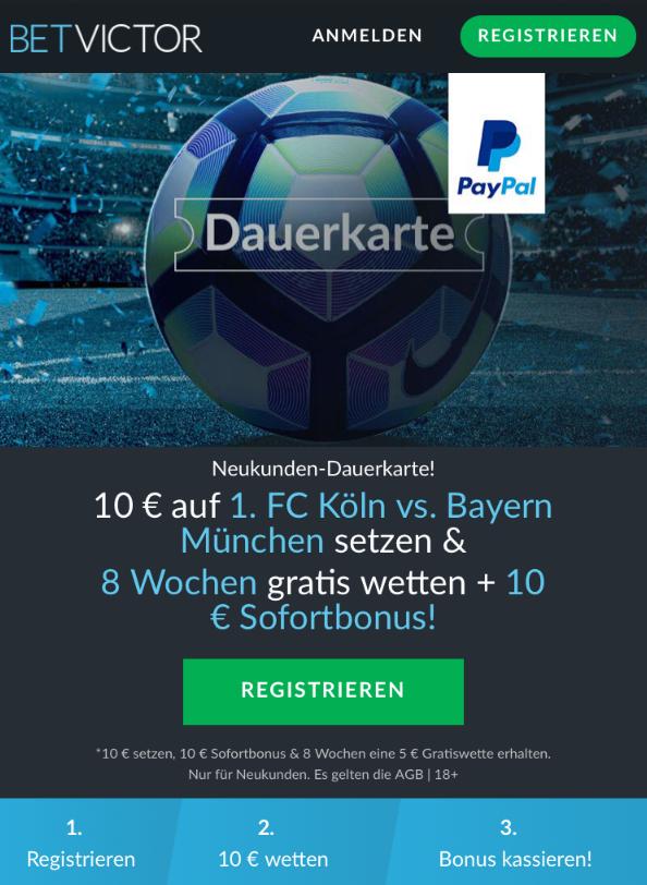 Köln gegen Bayern: Acht Wochen Gratiswetten