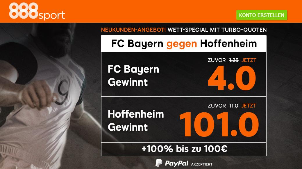 Quote 101.0 für einen Hoffenheim-Sieg gegen Bayern