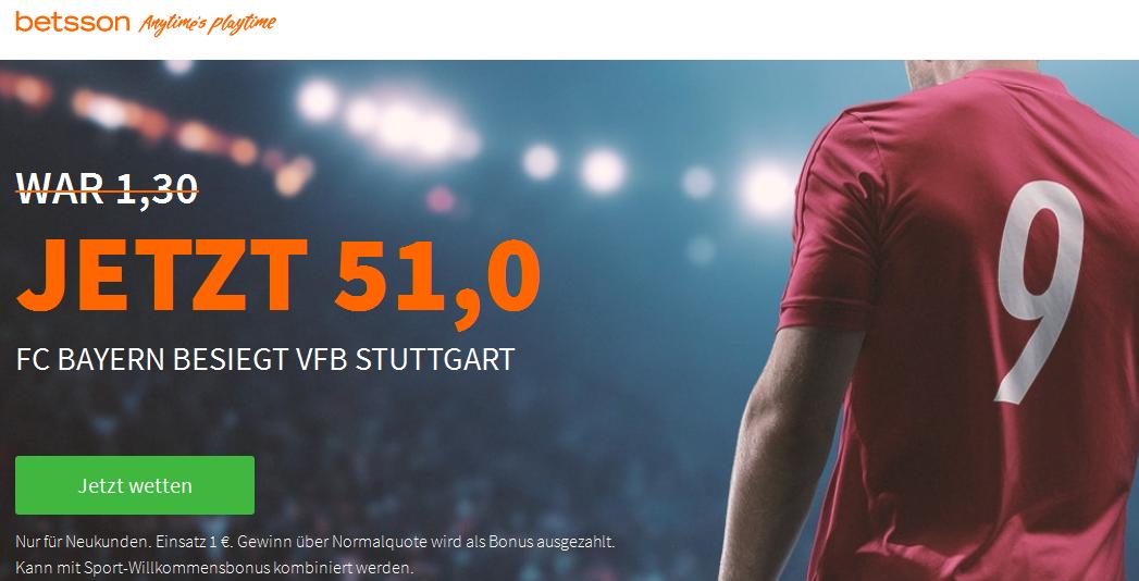 Mega-Quote: 51.0 für einen Bayern-Sieg in Stuttgart