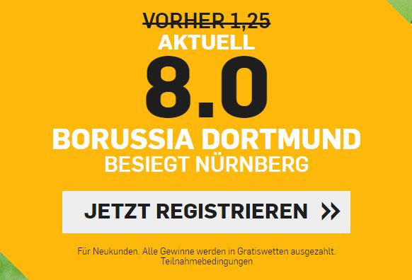 TOP-Quote: 8.0 wenn Dortmund Nürnberg schlägt