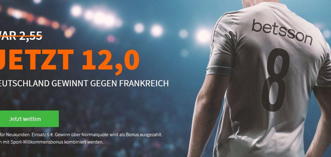 Mega-Quote: 12.0 für Deutschland-Sieg gegen Frankreich