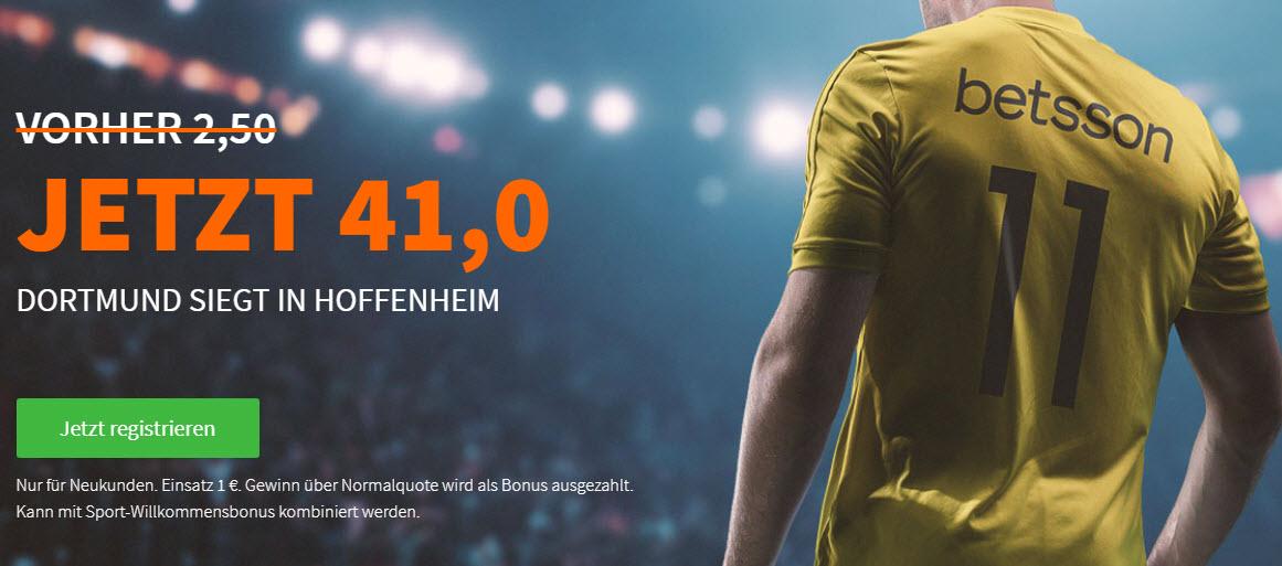Mega-Quote: 41.0 für Dortmund-Sieg in Hoffenheim