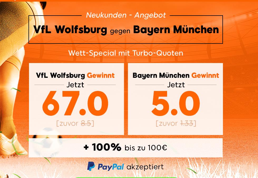 330 Euro gewinnen – wenn Bayern in Wolfsburg verliert