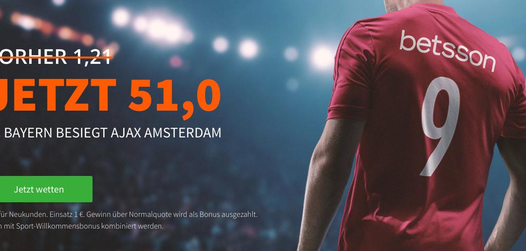 Mega-Quote: 51.0 für einen Bayern-Sieg gegen Ajax