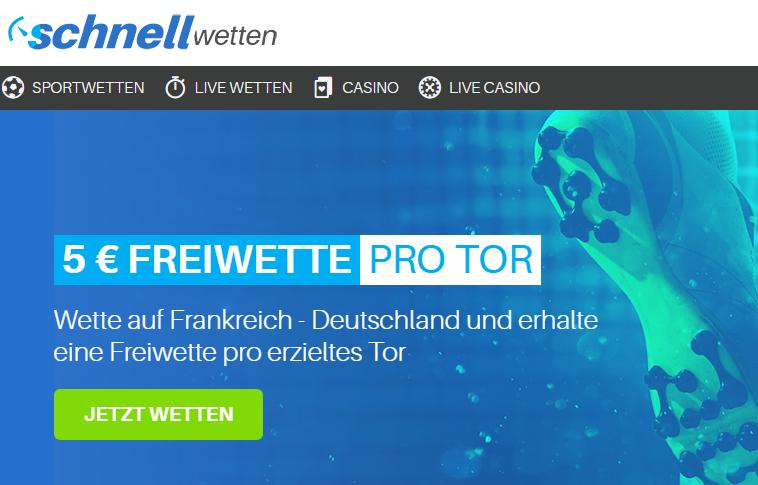 FRA – GER: 5 Euro Gratiswette für jedes Tor