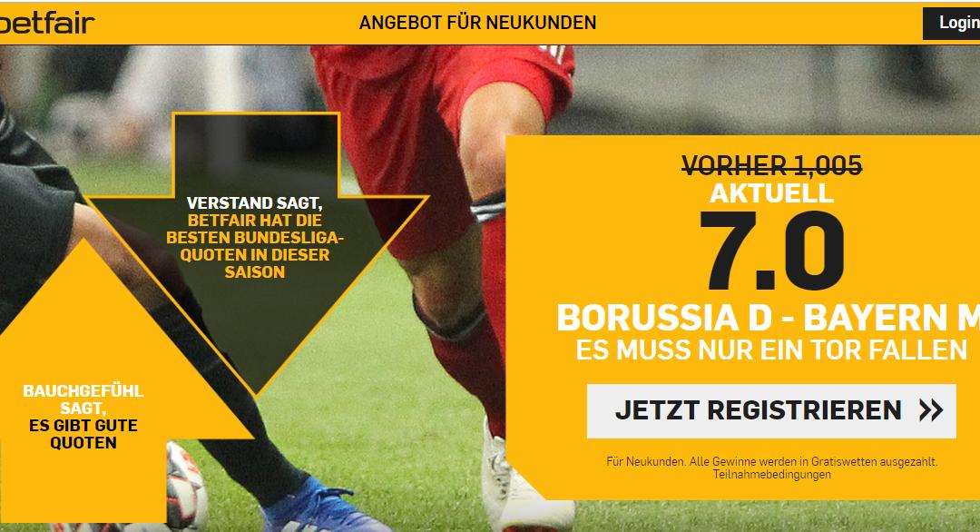 7.0 – für ein einziges Tor bei Dortmund gegen Bayern
