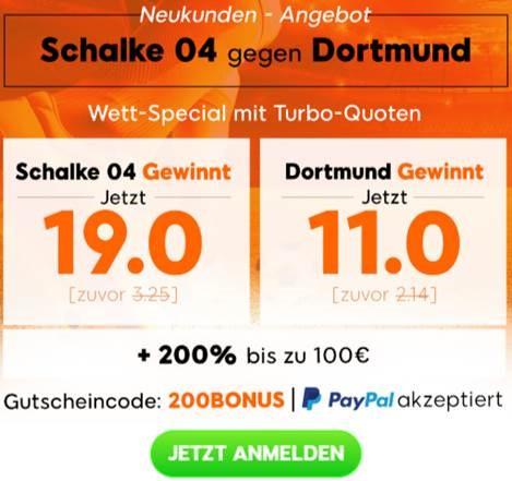 Zweistellige Quoten für Schalke und Dortmund – Top-Booster von 888
