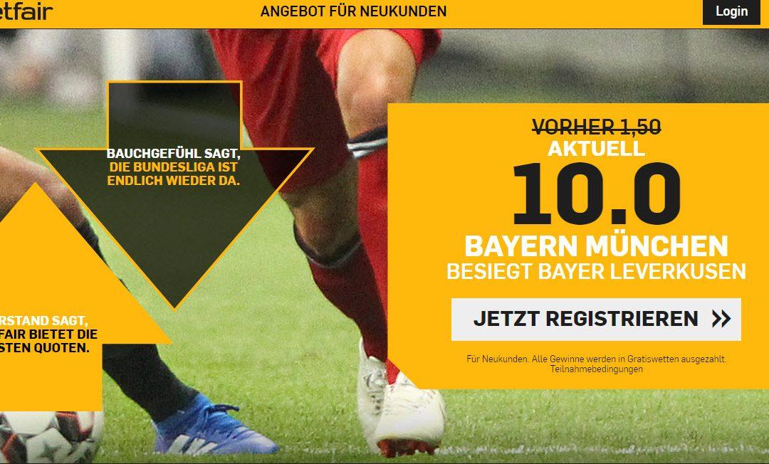 50 Euro für 5 – wenn Bayern in Leverkusen gewinnt