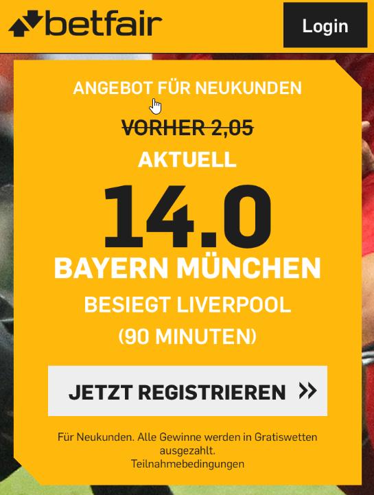 70 Euro Gratiswetten abräumen – wenn Bayern Liverpool schlägt