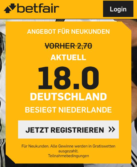 Deutschland besiegt Holland? 90 Euro Gratiswetten abräumen!
