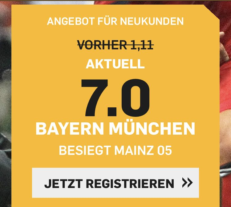 Top-Quote: 7.0 – wenn Bayern gegen Mainz gewinnt