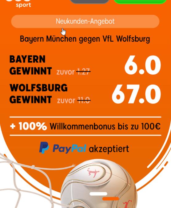 330 Euro – wenn Wolfsburg in München gewinnt