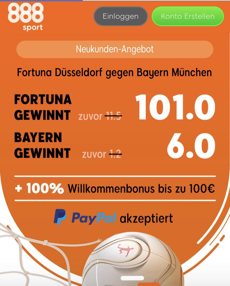 Giga-Quote: 500 Euro für 5 – wenn Düsseldorf die Bayern schlägt