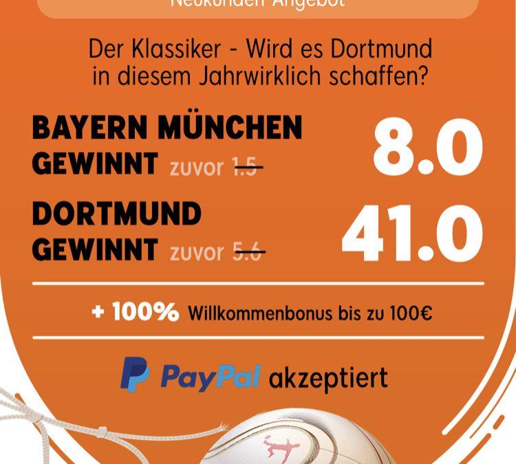 200 Euro gewinnen – wenn Dortmund den FC Bayern schlägt