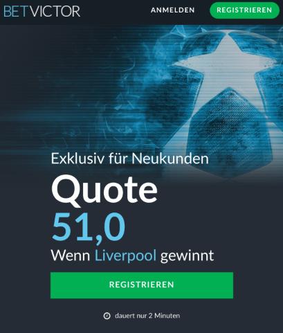 Mega-Quote – 51.0 wenn Liverpool Porto schlägt