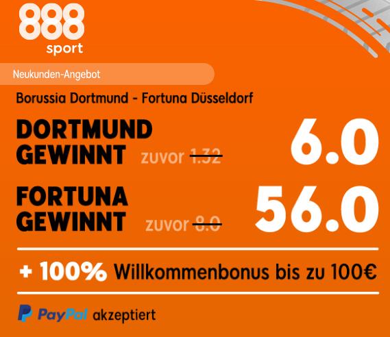 Gewinnt 280 Euro – wenn Düsseldorf  Borussia Dortmund schlägt