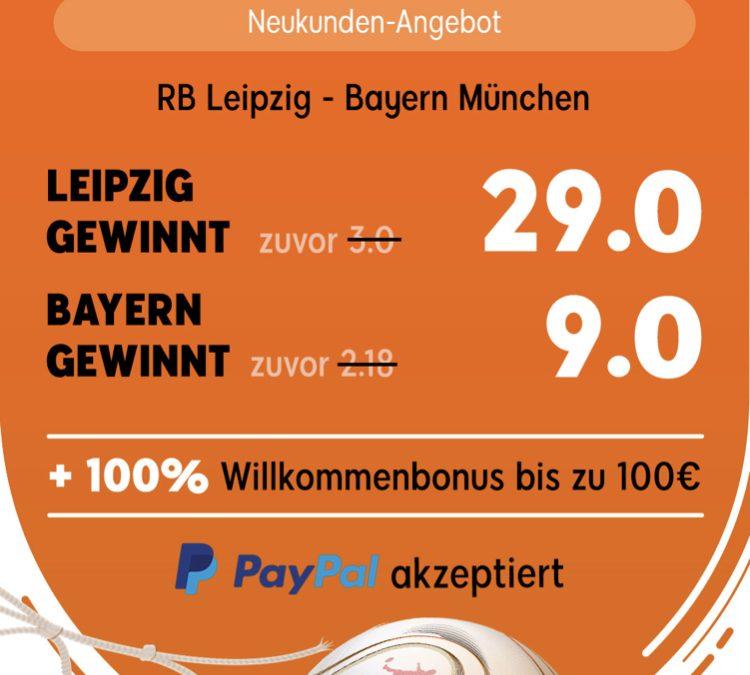 Gewinnt 140 Euro – wenn Leipzig den FC Bayern schlägt
