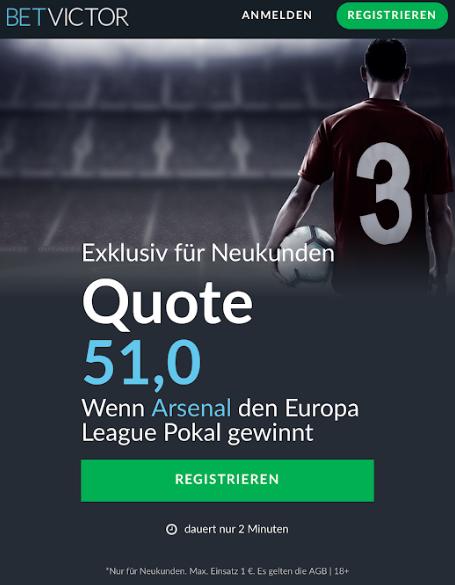 Mega-Quoten – 51.0 für einen EL-Sieg von Chelsea oder Arsenal