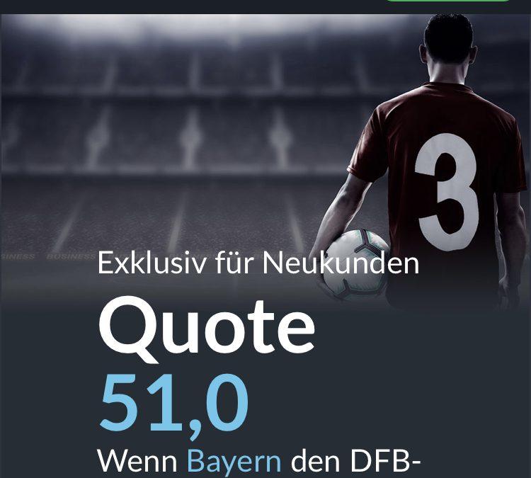 Mega-Quote: 51.0 wenn Bayern den DFB-Pokal gewinnt