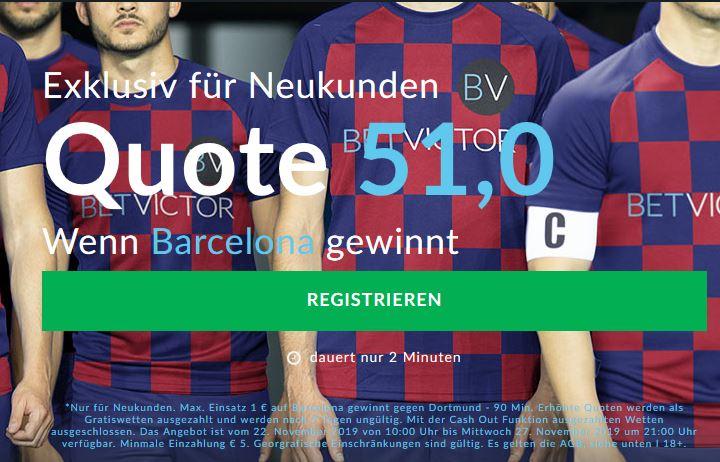 Mega-Quote von 51 für einen Barca-Sieg gegen den BVB
