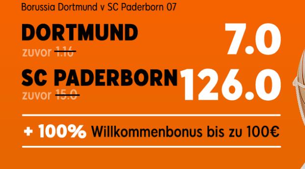 Hereinspaziert, hier geht's zur Megaquote von 126 für den Paderborn-Sieg