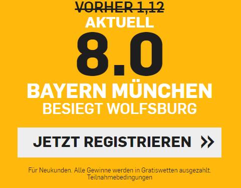 Top-Quote von 8 für Bayern-Sieg gegen Wolfsburg
