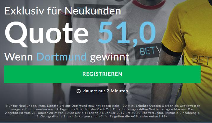 Mega-Quote von 51.0 für einen BVB-Sieg gegen Köln