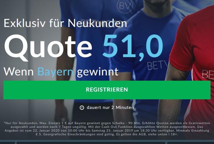 Mega-Quote 51.0 für Bayern-Sieg gegen Schalke