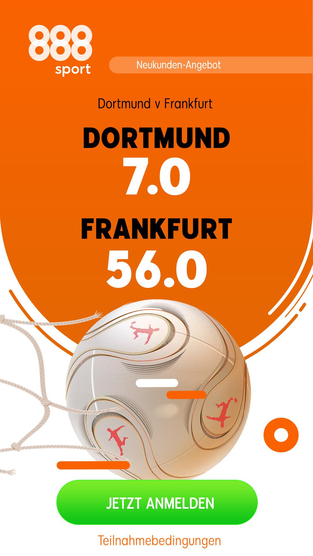 Mega-Quote 56.0 für Frankfurt-Sieg in Dortmund