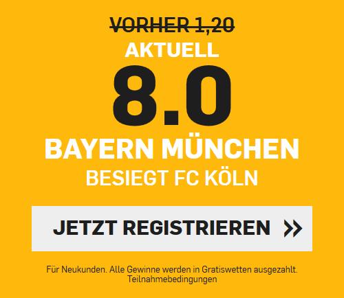 Top-Quote 8.0 für Bayern-Sieg in Köln