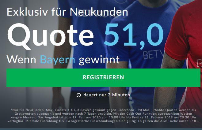 Sensationsquote 51.0 für Bayern-Heimsieg gegen Paderborn