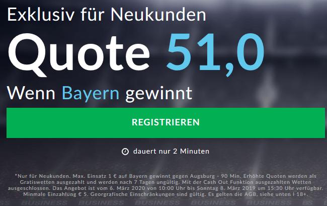 Monster-Quote 51.0 für Bayern-Sieg gegen Augsburg
