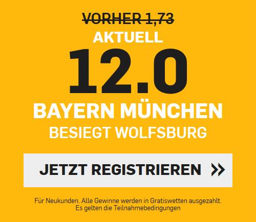 Super-Quote 12.0 für Bayern-Sieg in Wolfsburg