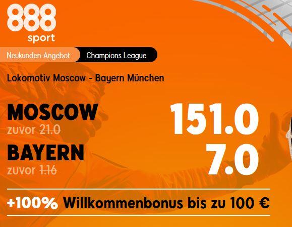 Siegquote 7.0 für einen Bayernsieg in Moskau