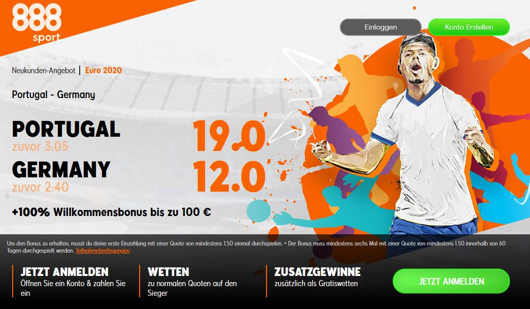 Reihenweise Quotenbooster für Neukunden zum Spiel Deutschland gegen Portugal