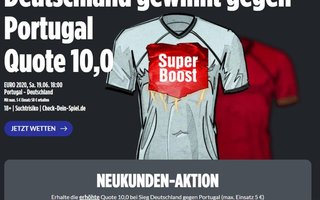 Super Quotenbooster 10.0 für den Sieg von Deutschland gegen Portugal