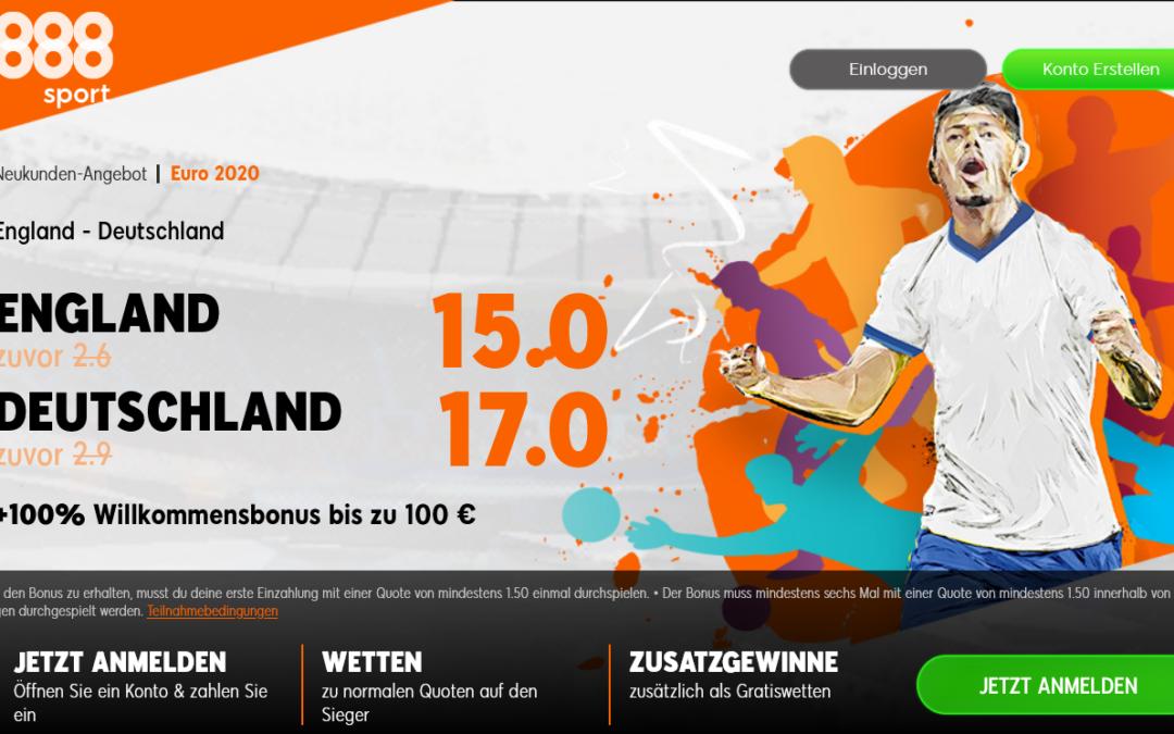 Top Quotenbooster für das Duell England gegen Deutschland
