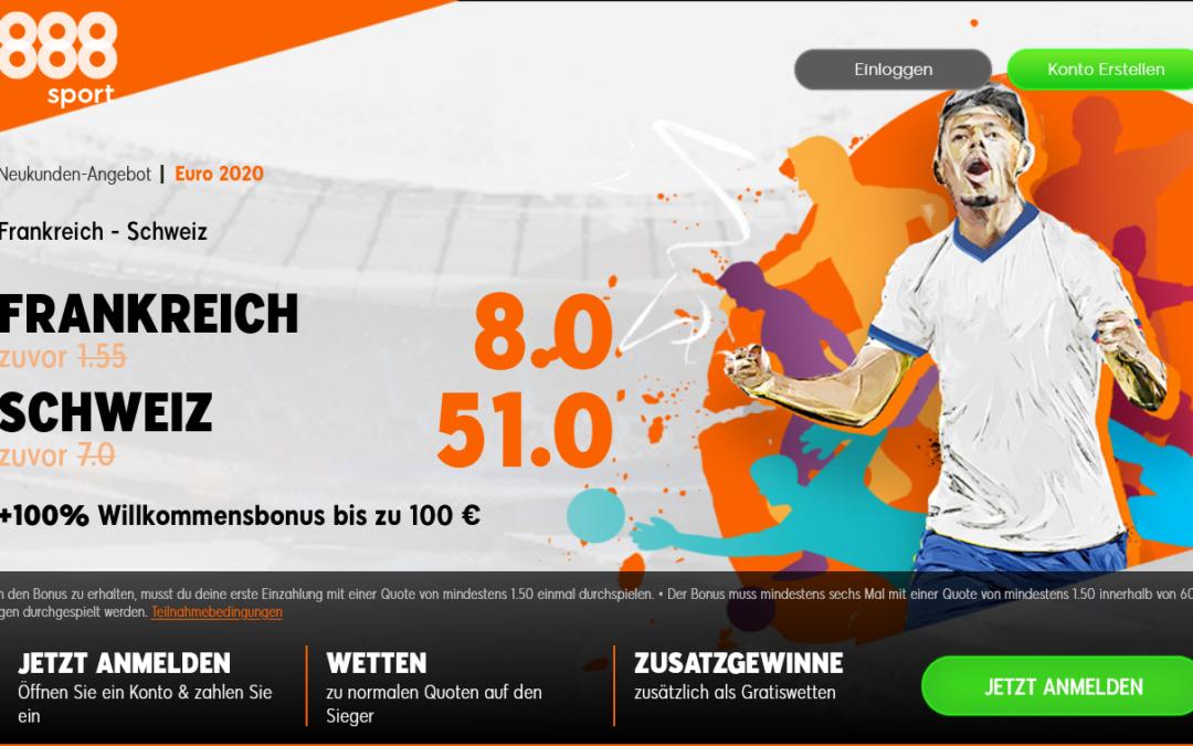 Top Neukundenquote für Frankreich-Sieg gegen die Schweiz