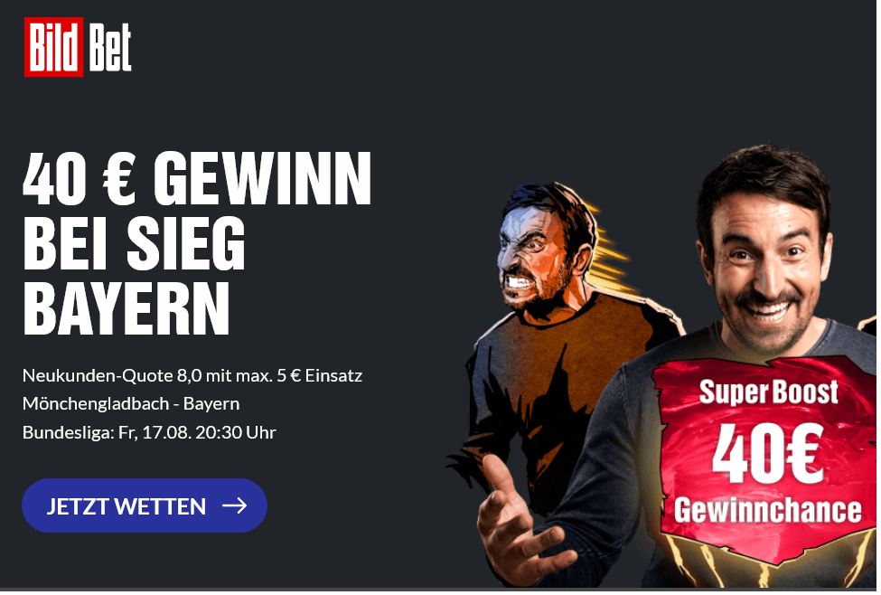 40 Euro Gewinn für Bayern-Sieg? BildBet hat den Super Boost!