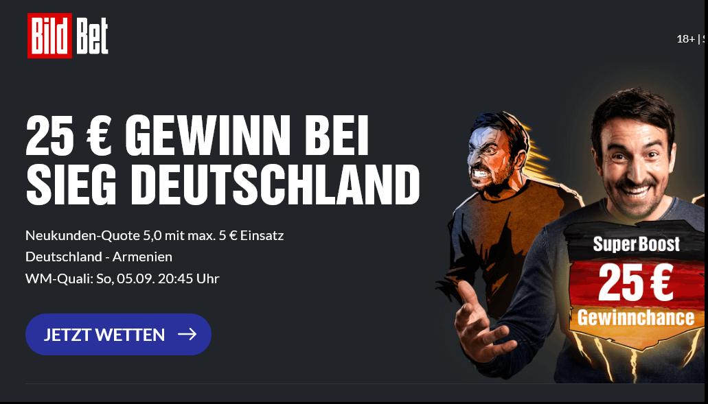 25 Euro Gewinn bei DFB-Sieg? BildBet hat den Super Boost!