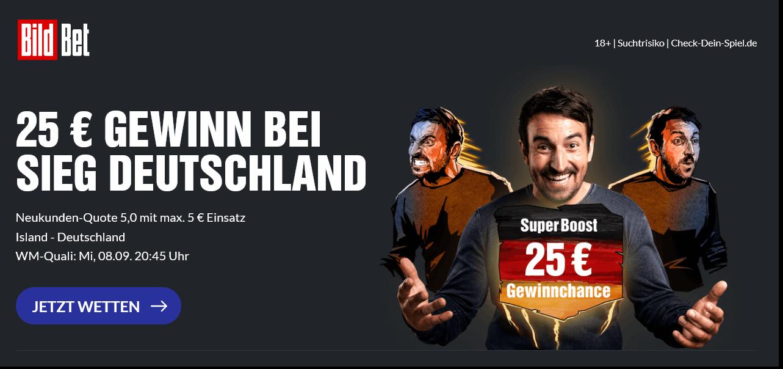 25 Euro Gewinn bei DFB-Sieg gegen Island! Super Boost von BildBet!
