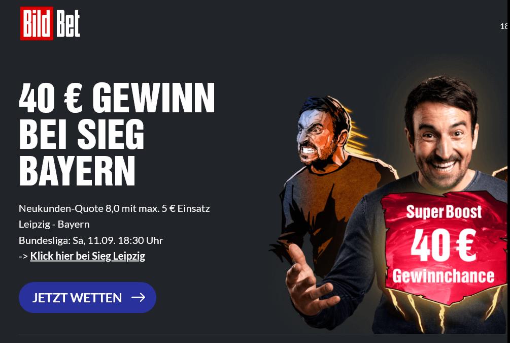 40 Euro Gewinn bei Bayern-Sieg gegen Leipzig? Super Boost bei BildBet!