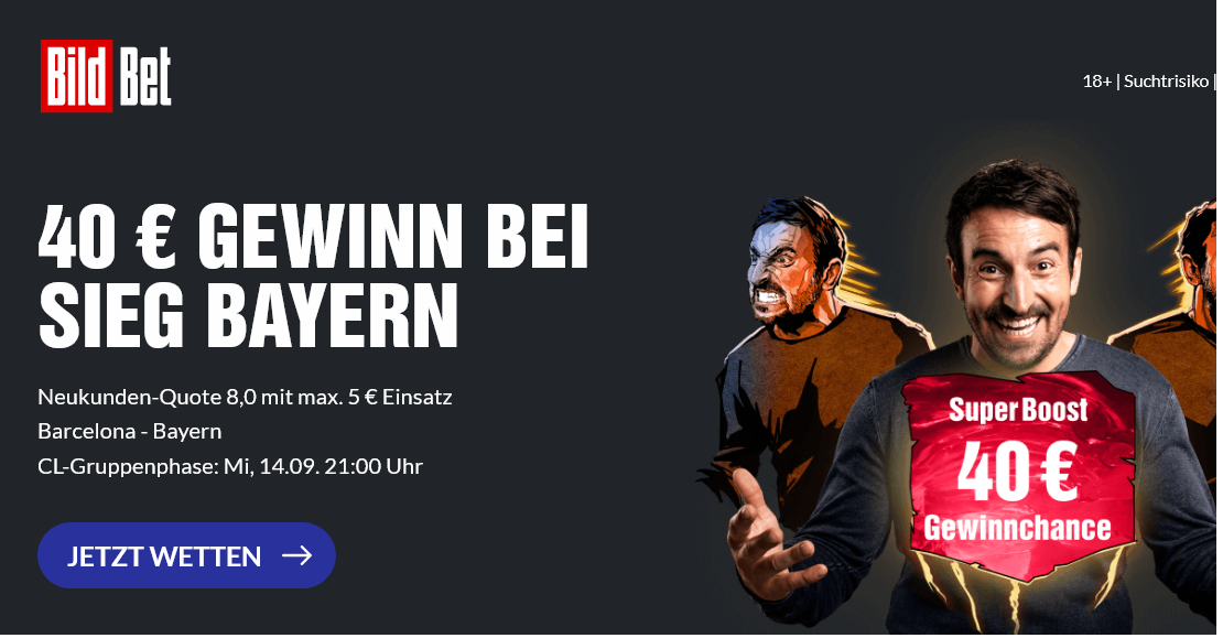 40 Euro Gewinn bei Bayern-Sieg vs. Barca! Super Boost bei BildBet!