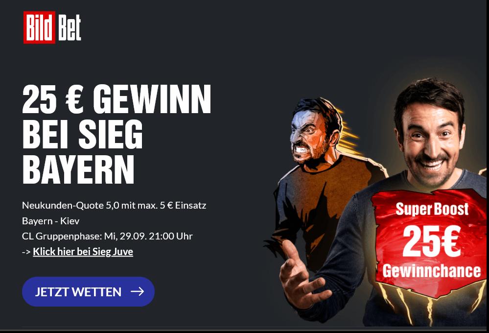 25 Euro Gewinn bei Bayern-Sieg vs. Kiew! Super Boost bei BildBet!