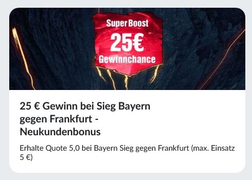 25 Euro Gewinn bei Bayern-Sieg gegen Frankfurt! Superboost bei BildBet!