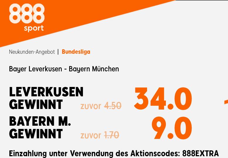 Gewinnen die Bayern das Spitzenspiel? Quotenbooster bei 888!